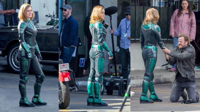 """""""Captain Marvel"""" e il costume di Brie Larson che fa discutere (foto sul set)"""