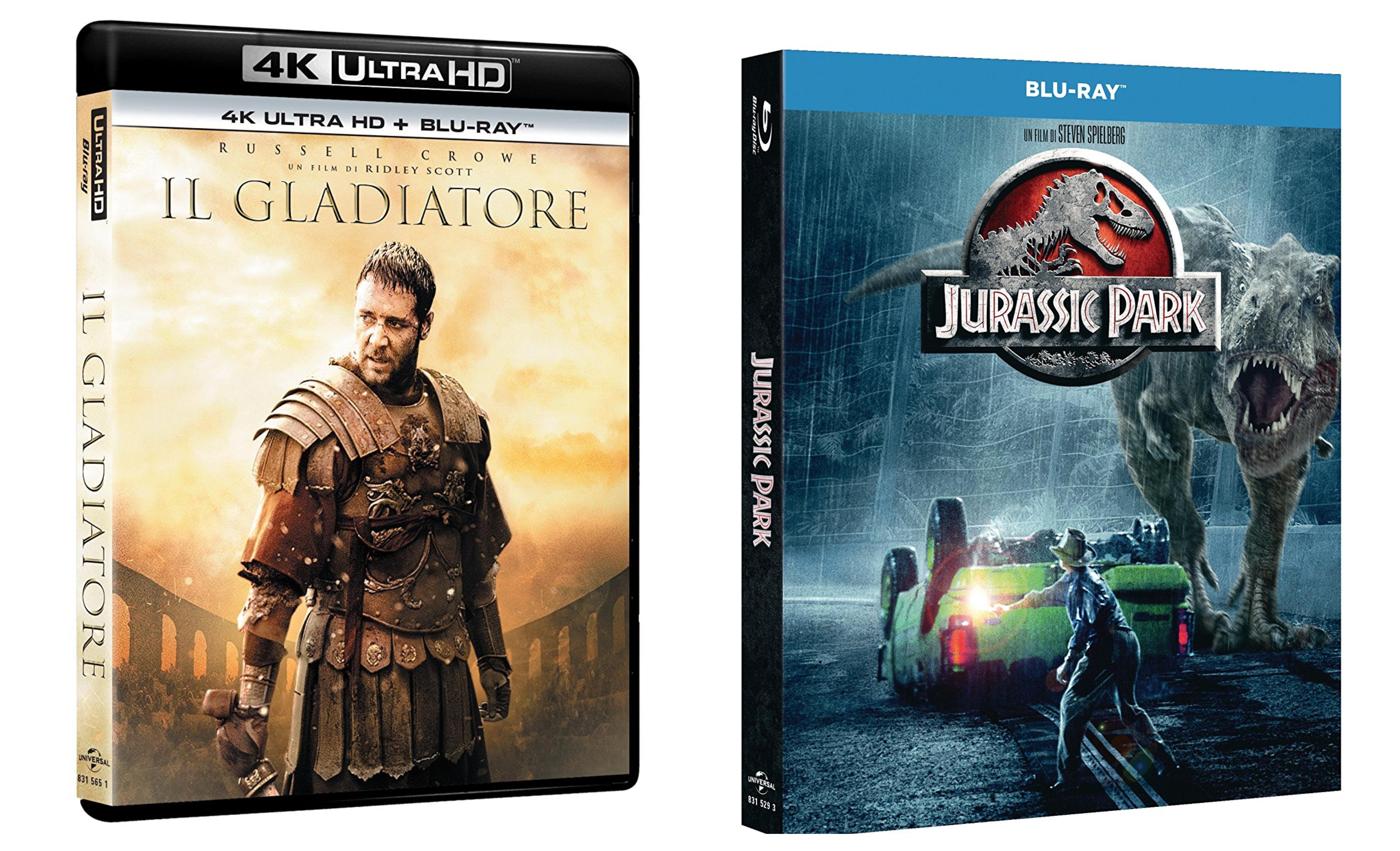GLADIATORE 4K e JURASSIC PARK: home video Universal maggio