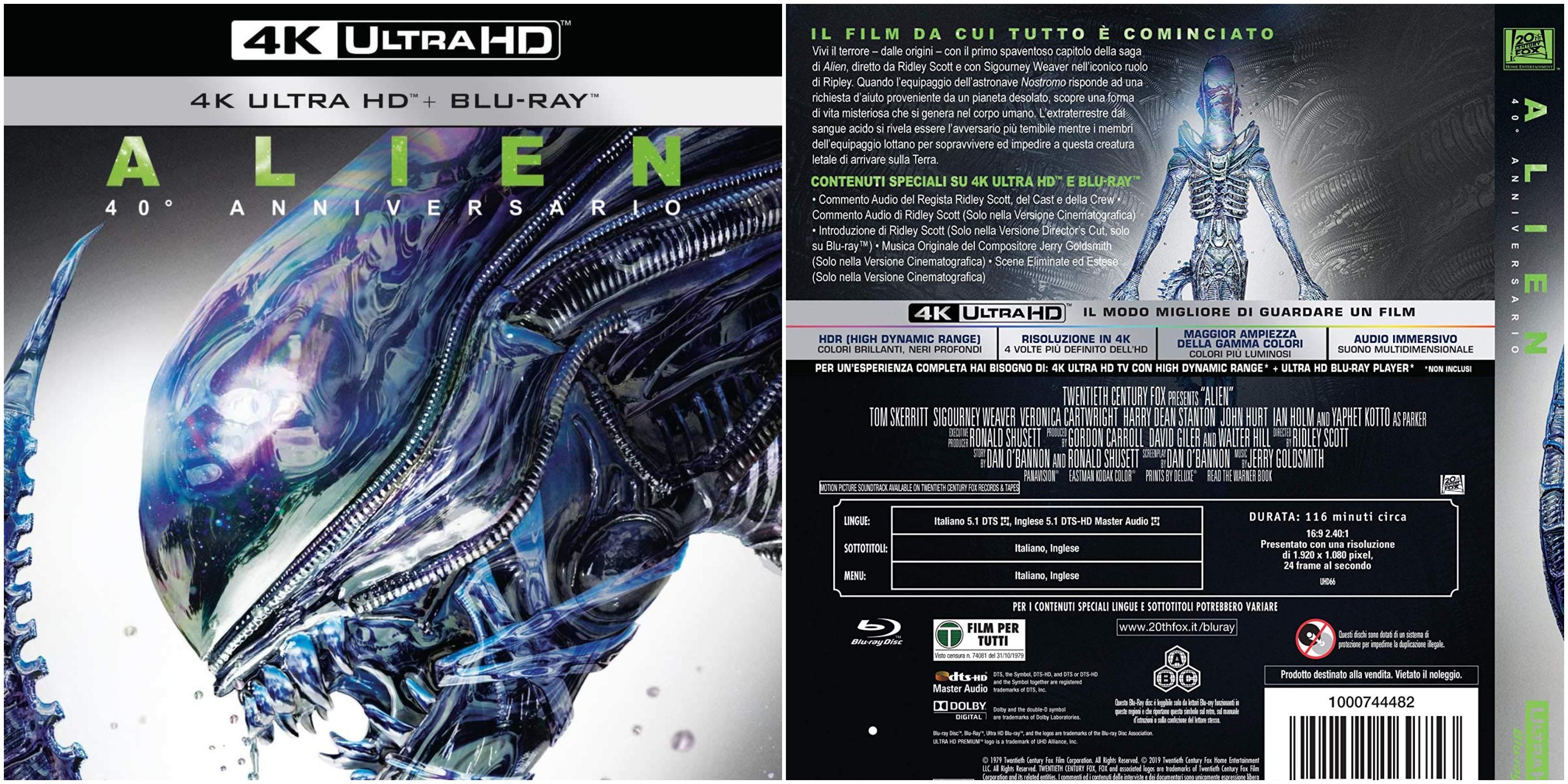 """""""Alien"""" blu-ray e 4K Ultra HD per il 40° anniversario"""