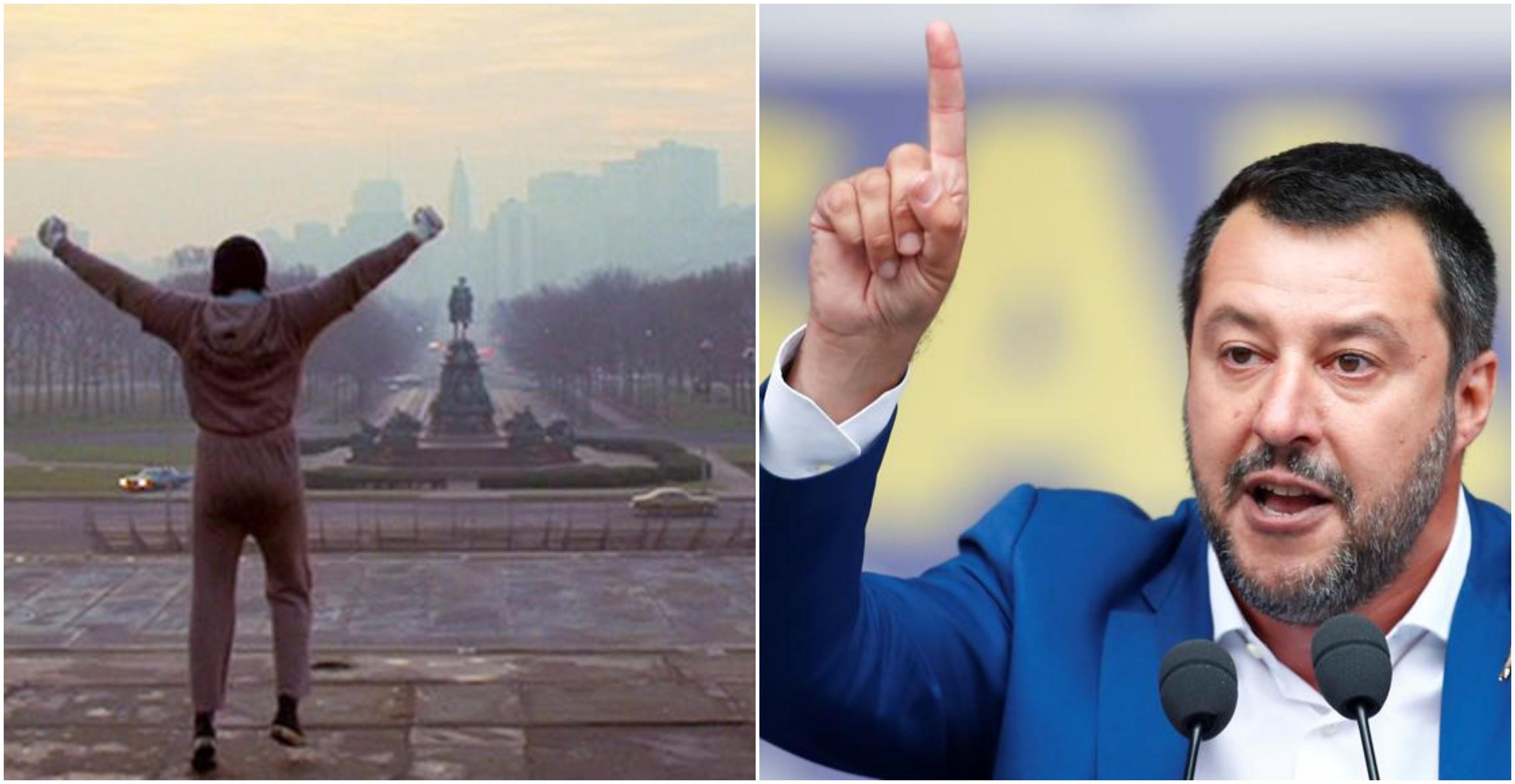 Matteo Salvini fa una gaffe su Rocky: confusa la celebre scalinata