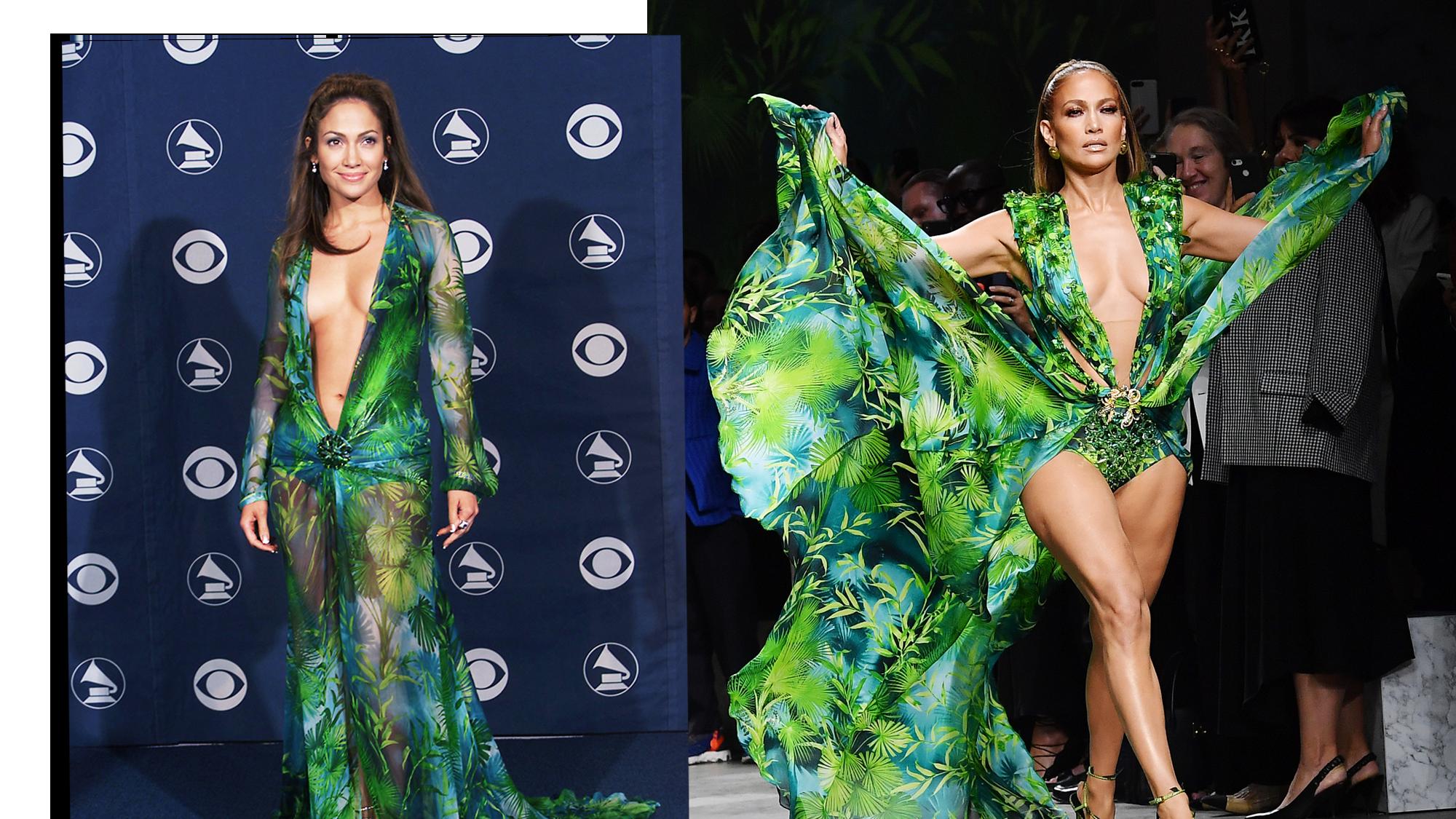 Jennifer Lopez: l'abito 'jungle dress' 2.0 di Versace rindossato 19 anni dopo