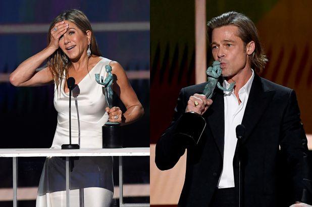 Brad Pitt e Jennifer Aniston; l'abbraccio nel backstage dopo la vittoria ai SAG Awards 2020