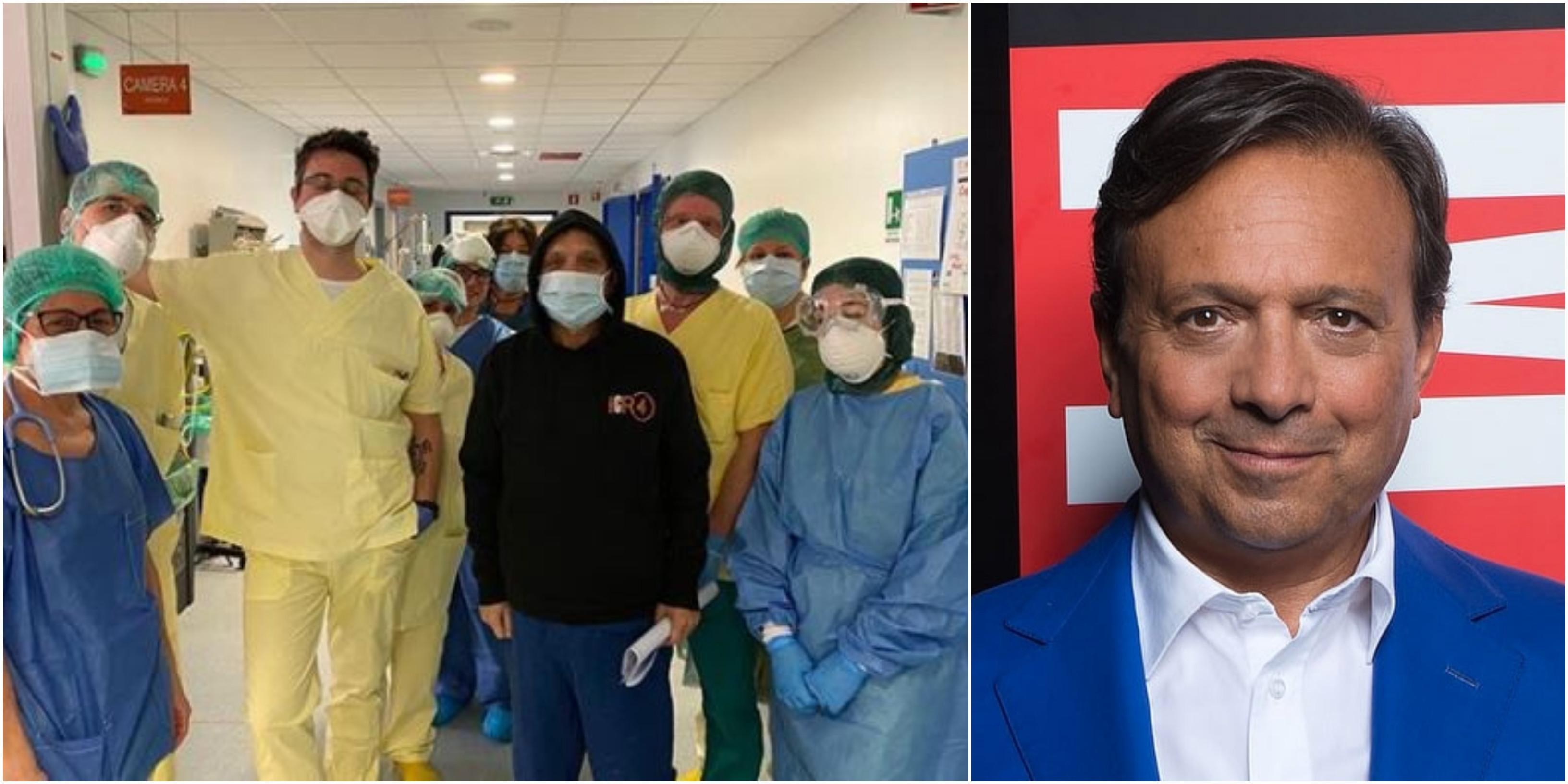 """Piero Chiambretti guarito dal Coronavirus, la foto con medici e infermieri: """"Esempi"""""""