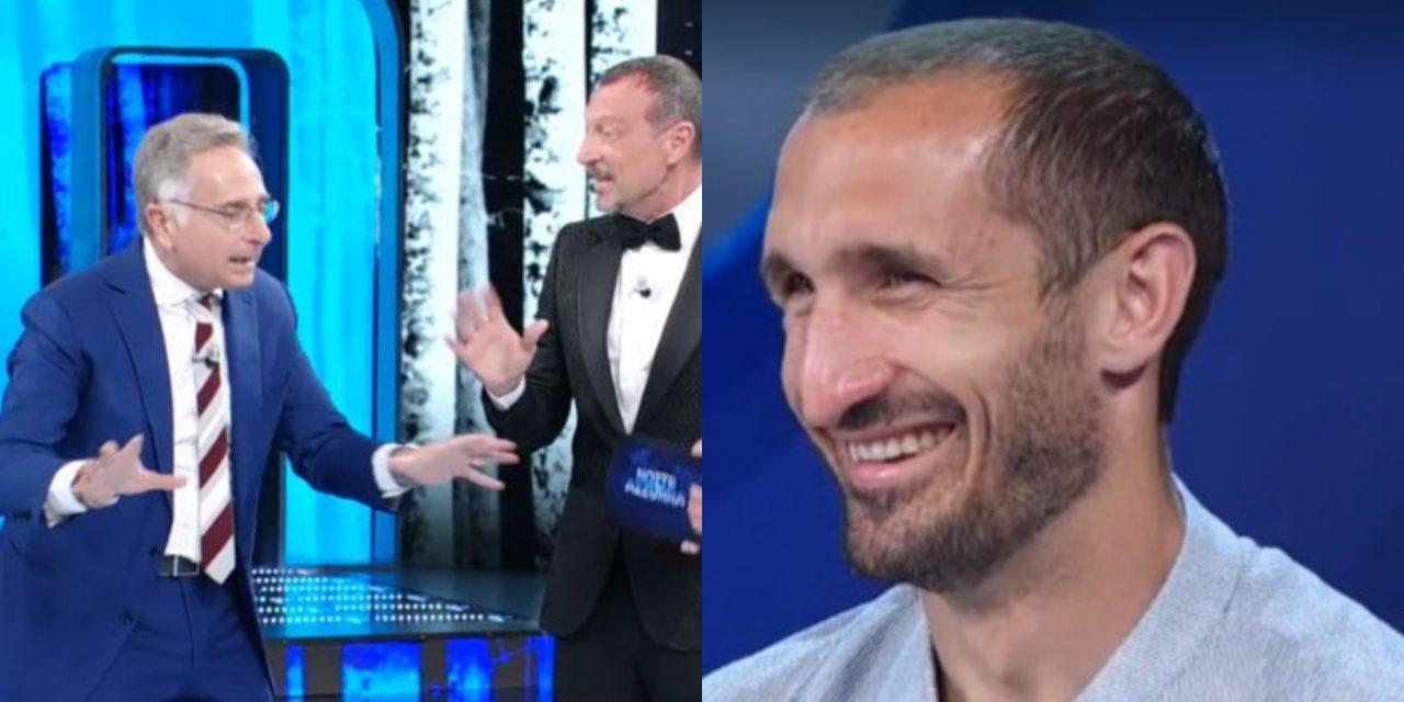 """Paolo Bonolis sfotte Chiellini: """"In Italia puoi buttarti, in Europa non lo so"""""""