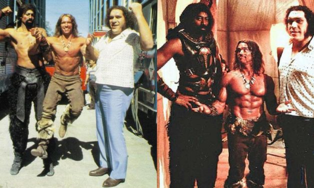 """Conan 2, Schwarzenegger: """"Andrè the Giant voleva pagare sempre lui la cena, se non lo faceva si arrabbiava e mi sollevava come una piuma…"""""""